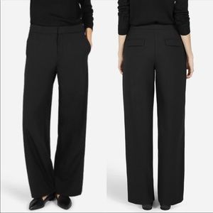 Everlane Black Slouchy Wide Leg Wool Trouser Pants